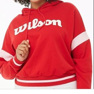 F21 x Wilson Cropped Red Hoodie